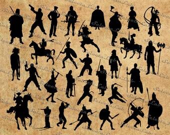 Digital SVG PNG warrior, roman soldier, indian warrior, knight warrior, samurai, spartan, clipart, vector, silhouette, instant download