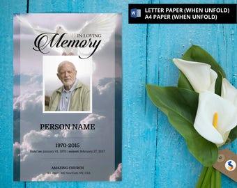 ANGEL DOVE   Funeral Program Template   Printable Funeral Program Template   Microsoft Word Template