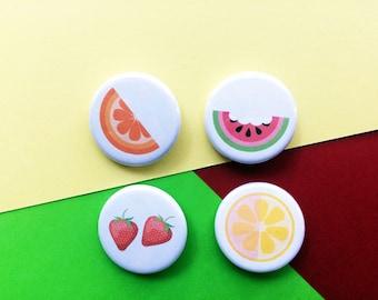 fruit pinback button set // summer button badges // strawberry, lemon, orange, watermelon // summer button pins // colorful buttons
