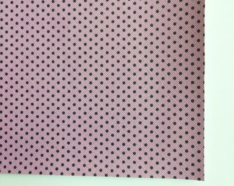 Pink Violet with Black Polka Dot Faux Leather