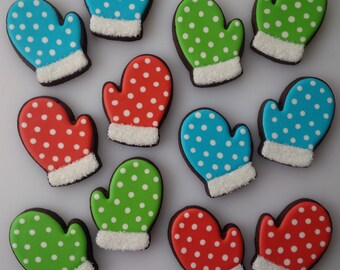 Polka Dot Mitten Cookies - One Dozen Decorated Christmas / Holiday Cookies