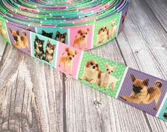 """Chihuahua ribbon - Dog ribbon - 7/8"""" Grosgrain ribbon - I love dogs - I love chihuahua's - Crafting ribbon - Dog hair bow DIY - crafting DIY"""