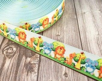 Animal ribbon - Safari ribbon - Animal theme - Lion ribbon - Elephant ribbon - Giraffe ribbon - Baby shower ribbon - Grosgrain ribbon
