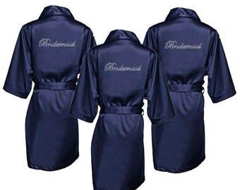 Bridesmaid Robes with Rhinestones - Bridesmaid Robes - Rhinestone Robes - Satin Robes - Bridesmaid Gifts - Navy Bridesmaid Robes