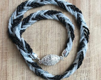 Beaded Necklace, Braided Necklace, Black and White Necklace