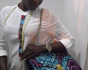 African Fabric Handbag/shoulder bag - aqua/purple