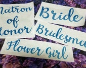 Iron-On Wedding Decals - Bride - Bridesmaid - Maid of Honor - Heat Transfer Vinyl - Bridal Shower - DIY Bachelorette Party Shirts