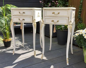 Sold ~Sold~ Vintage Olympus French Louis Style Pair Of Bedside Tables Orignal Glass tops
