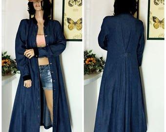 Long denim duster coat / size M / vintage extra long jean jacket / boho grunge denim maxi coat / dress / long blue jean coat / festival wear