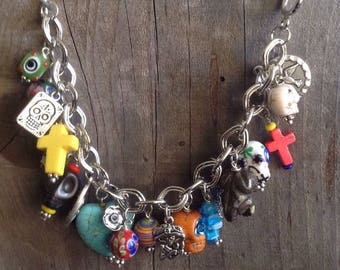 Day of the Dead Dia de los Muertos charm bracelet medals