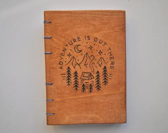 Wooden Travel Notebook, A6 Handmade Journal, Blank Handbound Note Books, Diary, White Pages, Coptic Binding