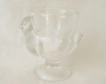Glass Chicken Egg Cup by Arcopal France