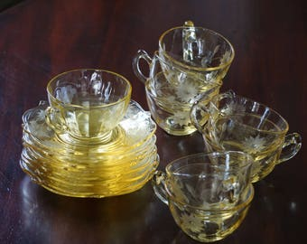Set of 7 Jubilee Yellow/Topaz Cups and Saucers/  1 Standard Grape Cup