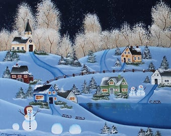 ORIGINAL Folk Art Landscape Painting, Christmas Gift, Acrylic Folk Art Painting,