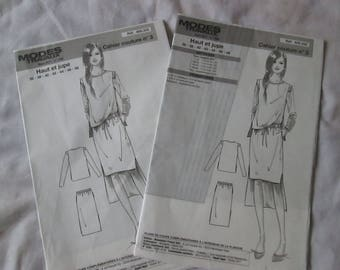 2 notebooks sewing patterns and work top and skirt size 36 to 48