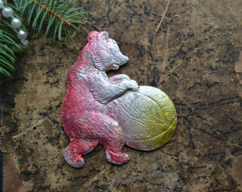 Vintage Soviet Christmas cardboard ornament, Bear with a Ball, Cardboard, New Year ornament, Soviet ornament, retro Christmas decoration