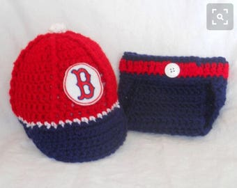 523636f4b ... boston red sox inspired crochet baby baseball newsboy hat disper cover  w embroidered logo; baby boy ...