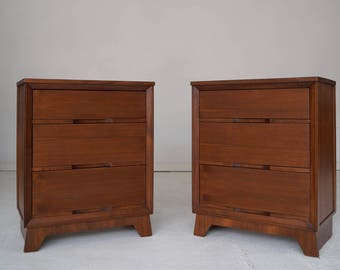 Pair of Large Mid-Century Modern Nightstands / Dressers in Walnut - Professionally Refinished!