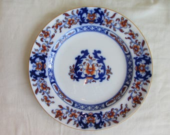 """Vintage / Antique Minton flow blue plate ,Staffordshire Ironstone  Pottery blue and white Blue Lyre. 10.1"""" Mintons Impressed mark 1927"""