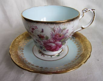 Lovey vintage Paragon duo English bone china collectors cabinet tea cup and saucer,  Special birthday gift. Blue, tooled gold, chintz,floral