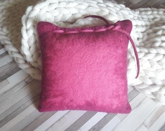 Pink Felt Pillow, Decorative pillow, Couch pillow, Throw pillow, Felt cushion, Felted Wool Soft All Natural Living room Decor