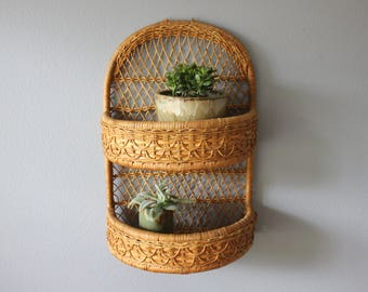 Two Tiered Arched Rattan Wall Mounted Shelf Boho Decor