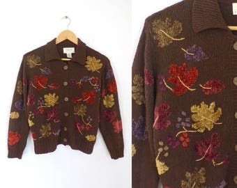80s Leaf Cardigan Sweater Button Down Knit Cotton Cardigan Chenille Leaves Fall Autumn Sweater Talbots Womens Jumper Small Petite