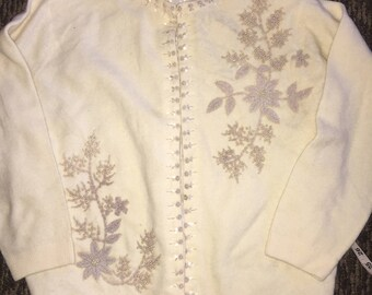 Vintage beaded Sweater Cardigan 1960s Ivory cropped sequins and pearls size 44