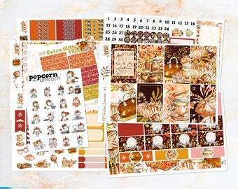Golden Leaves Fall Autumn set / kit weekly stickers - classic Happy Planner - glitter glam leaves woods September October November