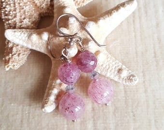 Strawberry Quartz drop earrings! Handcrafted with Sterling Silver and twinkling silvery Swarovski crystals! Strawberry Quartz Dangles!