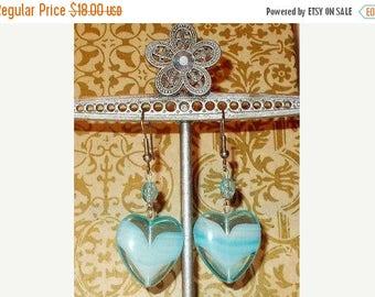 Sale Vintage 90s Hippie Chic Handmade Blue Heart Glass Bead Dangle Stainless Steel Earrings
