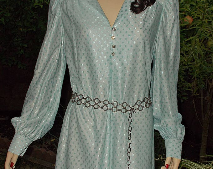 Vintage 60s 70s Hippie Caftan Blue Polyester Bohemian Womens Handmade Pullover Kaftan Long Sleeve Full Length Maxi Tunic Dress
