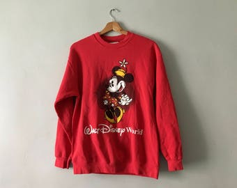 Vintage 1990s Red Disney Jumper | Retro Disney Sweater | Minnie Mouse Pullover