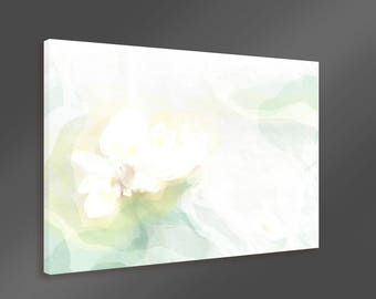 Original Abstract Flower Painting Large Canvas Wall Art Print Green Gold White Modern Minimalist Extra Large Ready to Hang Wall Decor