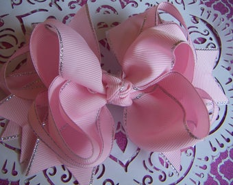 NEW Valentine  Soft Pink with Silver Edge Bow Handmade Large Bow Alligator Clip Only