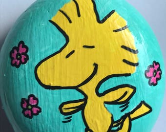 Woodstock Spring Flowers Reproduction Woodstock Peanuts Hand Painted Rock