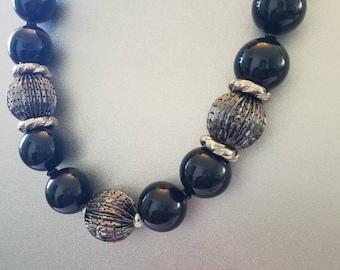 Chunky, black, silver, chunky necklaces, black necklaces, ribbon, large necklaces, statement necklaces, gunmetal