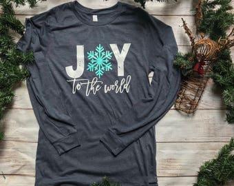 Long Sleeve Tshirt Christmas - Joy to the World Shirt - Womens Christmas Shirt - Christmas Top - Winter Shirt - Holiday Shirt