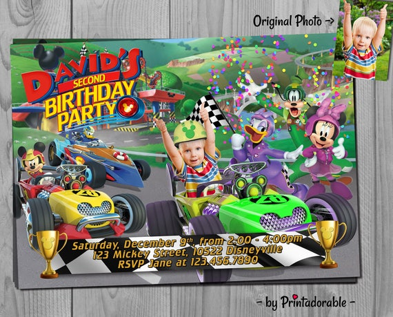 Mickey Roadster Racers Invitation - Mickey Mouse Clubhouse Birthday Party - Fully Customizable Invite