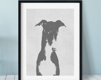 Greyhound art print, Dog Print Gift Idea, Modern Dog Art Print, Black White Wall Decor, Greyhound print, Pet portrait, Greyhound gift idea