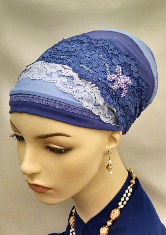 So elegant beaded and lace sinar tichel, tichels, head scarves, hair snood, chemo scarf