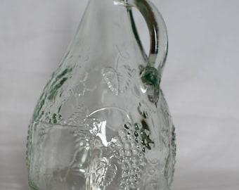 French Vintage Decanter Wine Carafe Embossed Glass Demi John Bottle Decanter ( Ref no. A 213 )