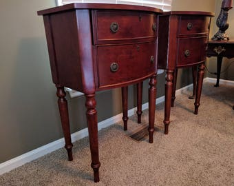 Furniture, Set Of Two, Vintage Bombay, Cherry Night Stands, End Tables,