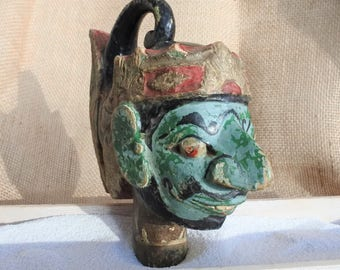 Vintage Indonesian Carved Wood Puppet Head