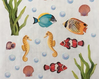 Tropical exotic fish stickers, Angel fish, clown fish, sea horse stickers