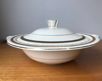 Wedgwood and Co. Ld. Vintage Serving Bowls, Gold Leaf Stripe Serving Dish with Lid, English Serving Dishes