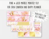 Pink & Gold Marble Monthly Kit for ECLP and Happy Planner (100+ Matte Planner Stickers)