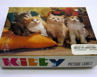 Vintage Kitty / Cat / Kitten Picture Puzzle Cubes of wooden blocks Complete in Box