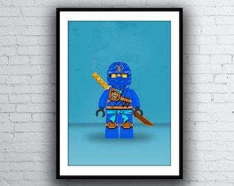 "Ninjago ""Jay"" Blue Ninja Lego Minifig Poster Print"
