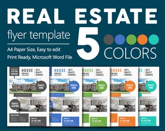 Premium Real Estate Flyers   Microsoft Word Easy to Edit Files   5 Colors   CMYK   Free Fonts used
